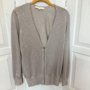 LOFT Tan Zip Cardigan Sweater with Sparkle